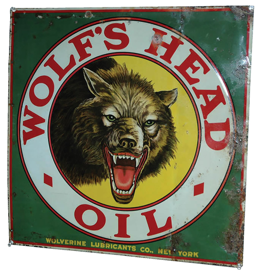 Wolfs Head Oil Sign Wolverine Lubricants Co New York